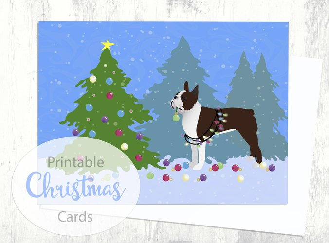Brown/Liver Boston Terrier Christmas Card - Christmas Forest - Digital Download Printable example image 1