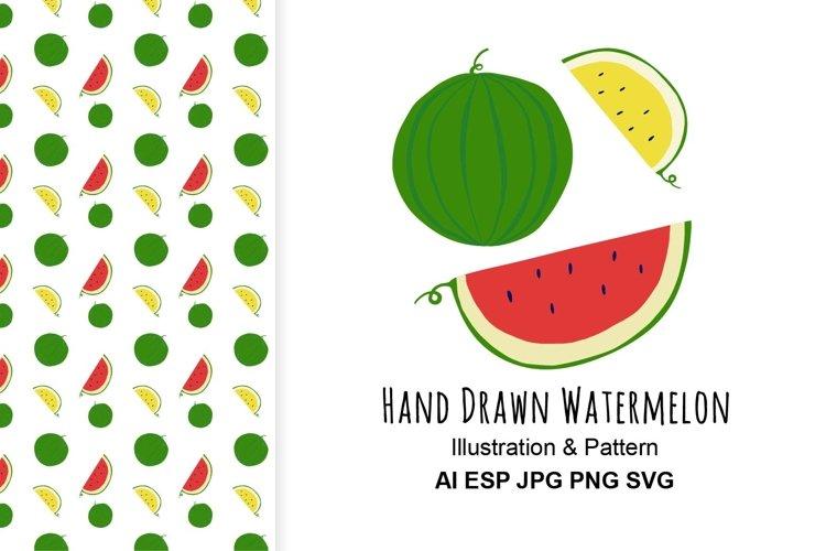 Watermelon illustration and pattern.