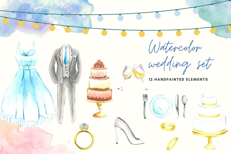 Wedding Cliparts, Watercolor Wedding Invitation Elements example image 1
