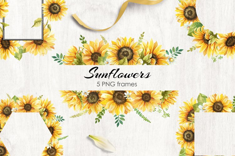 Watercolor Sunflowers Frames Collection example image 1