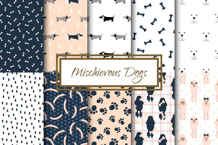 Mischievous Dogs seamless patterns