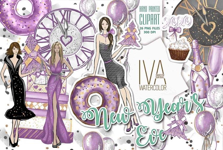 New Years Eve Clipart, Fashion Illustration