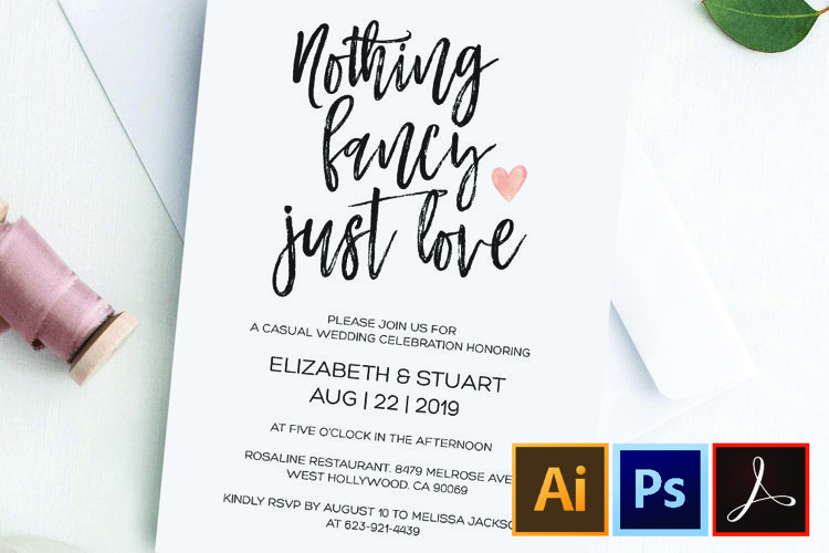 Nothing fancy just love wedding invitation, Funny Elopement example image 1