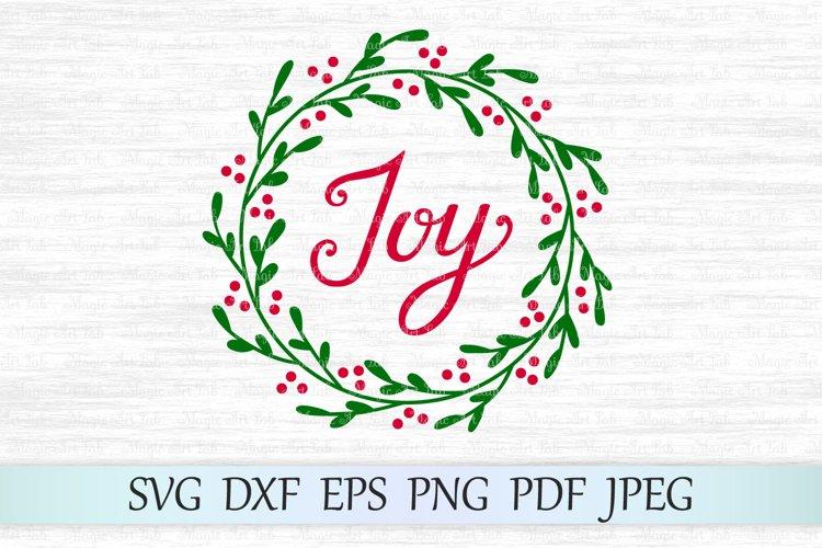 Joy wreath svg, Christmas svg, Holly wreath svg example image 1