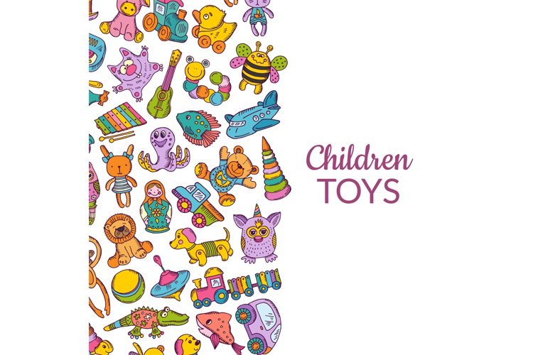 Vector hand drawn children or kid toys illustration example image 1