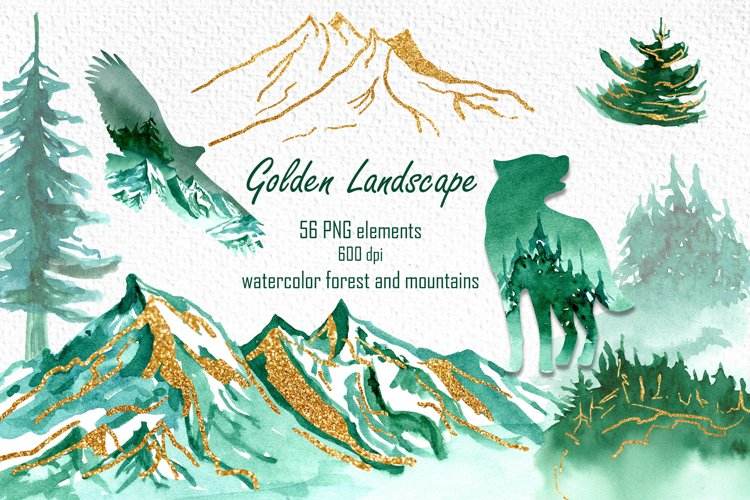 Watercolor landscape clipart, Forest animal silhouettes PNG