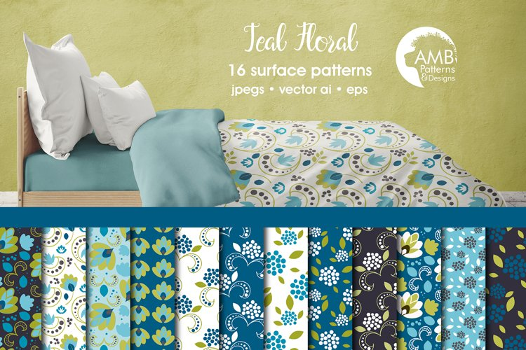 Teal Floral Patterns, Floral Papers, AMB-2369 example image 1