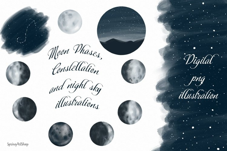 Moon Phases and ConstellatiDigital art High quality clipart