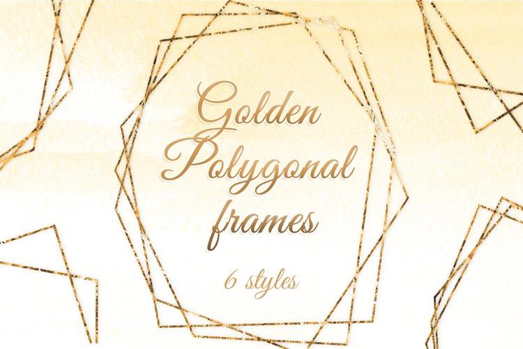 Gold polygonal frames Golden foil frames card design example image 1