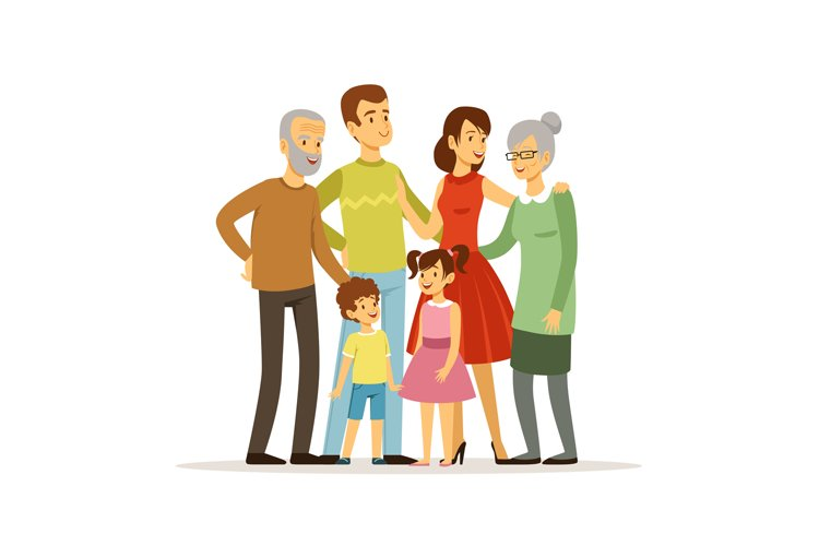 Vector illustration of big family with mother, father, grand example image 1