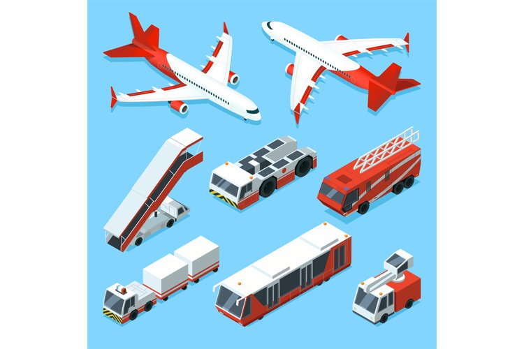 Airplanes set and other support machines in airport. Vector example image 1