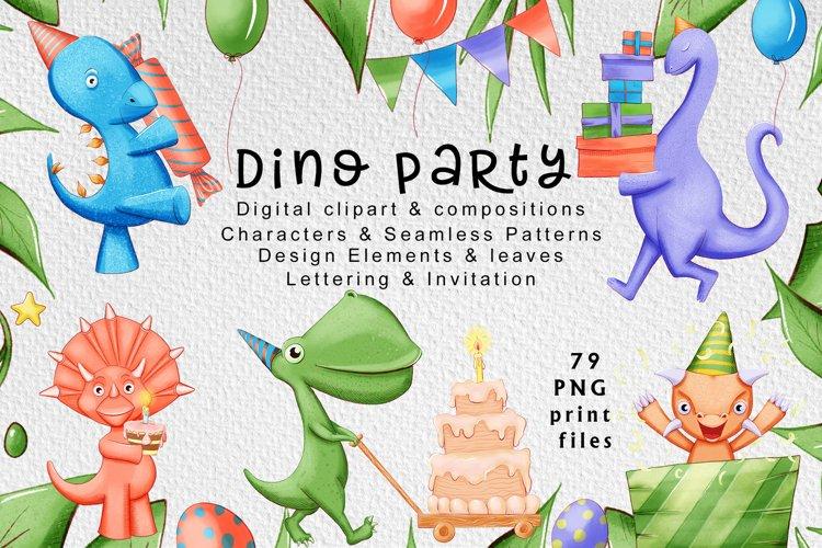 Cute dinosaur party digital clipart 100 hand-drawn