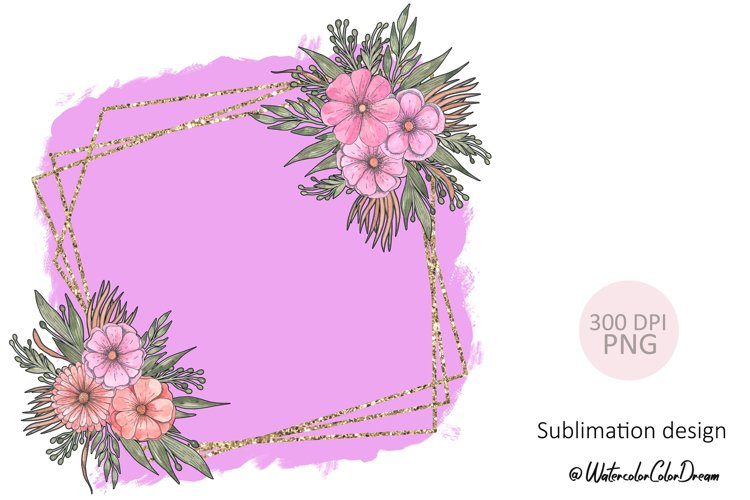 Floral Gold Geometric Frame Sublimation. example image 1