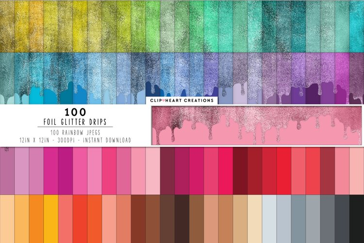 100 Foil Drip Digital Papers in Rainbow Colors example image 1