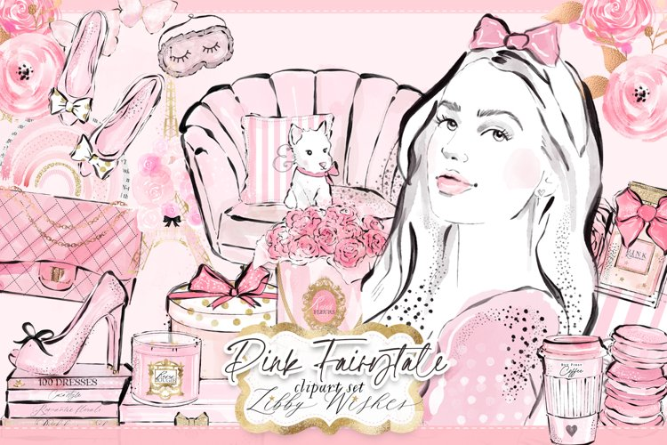 Pink fashion girly feminine clipart example image 1
