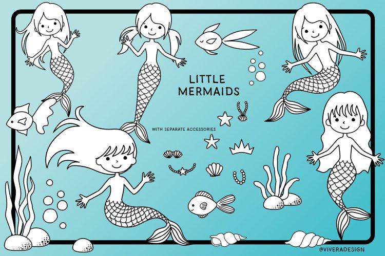 Little Mermaids Doodle Digital Clipart