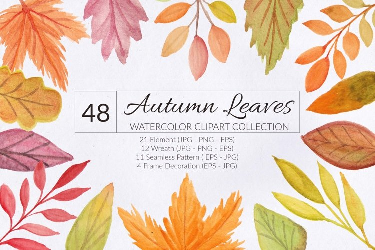 Autumn Leaf Watercolor Clipart Collection