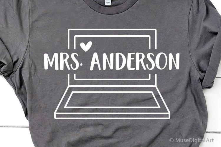 Laptop Split Monogram Svg, Teacher Laptop Svg Virtual School