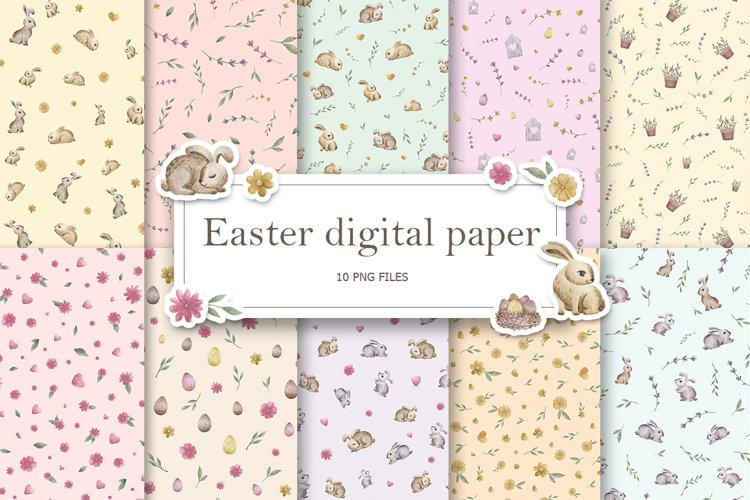 Easter digital paper pack