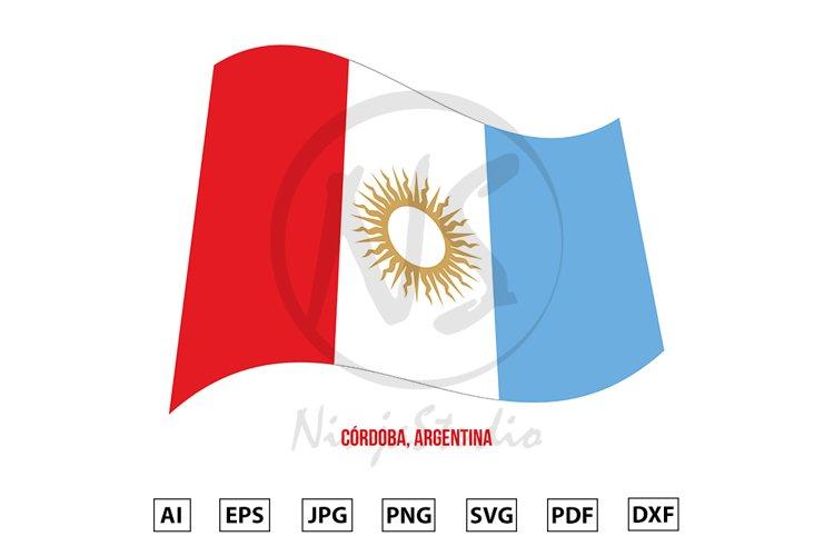 Cordoba Flag Waving Vector. Flag of Argentina Provinces example image 1