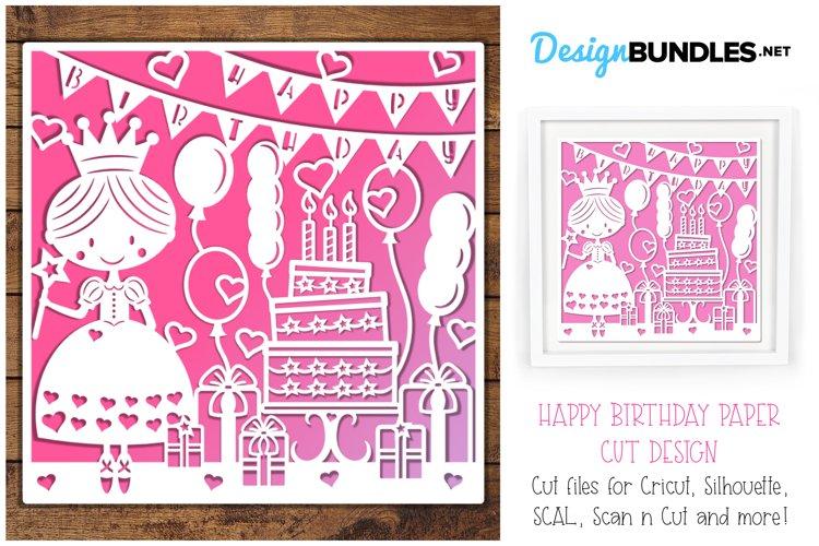 Happy Birthday princess paper cut design example image 1