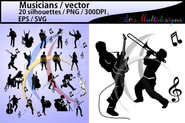Musicians SVG / Musicians silhouette / Musicians clipart / Musicians cricut file / band silhouette scrapbook kit / music / digital file / EPS example image 1