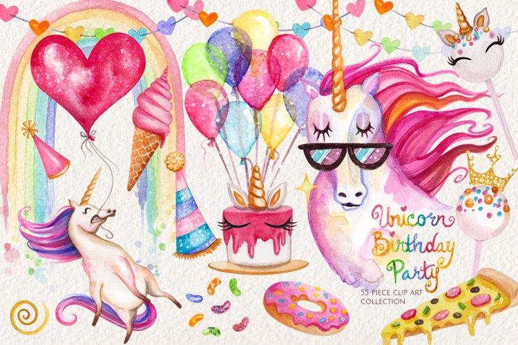 Watercolor Unicorn Birthday Party example image 1