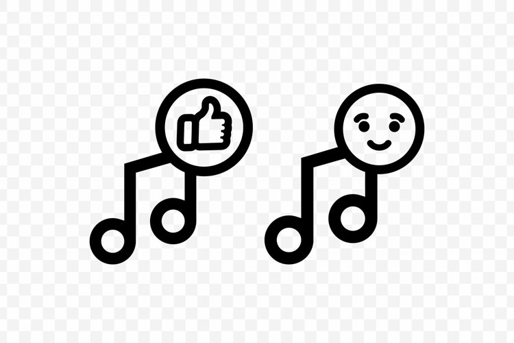 Music note icon in black. Like music. Vector EPS 10 example image 1