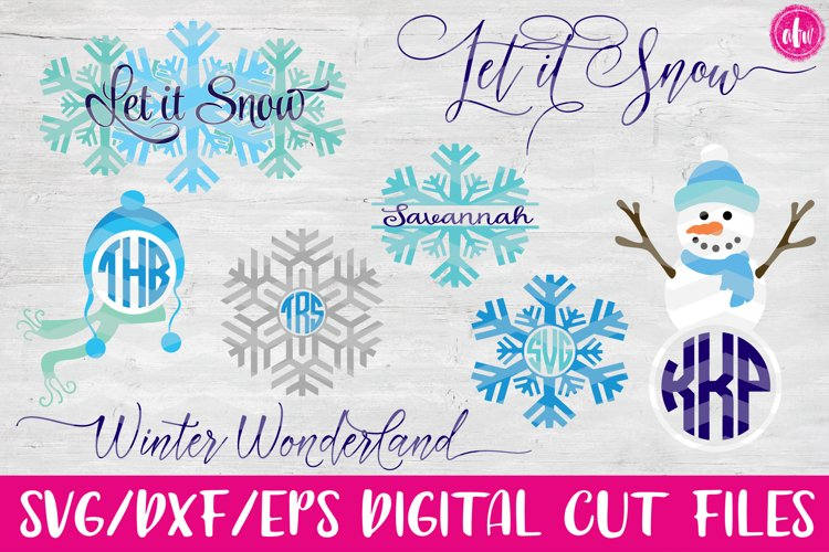 Winter Set - SVG, DXF, EPS Cut Files example image 1