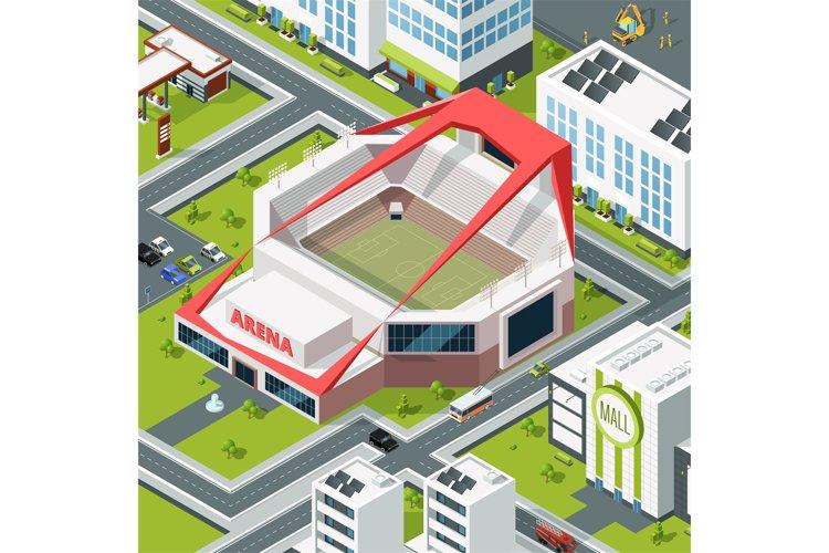 Isometric urban landscape with modern building of stadium example image 1
