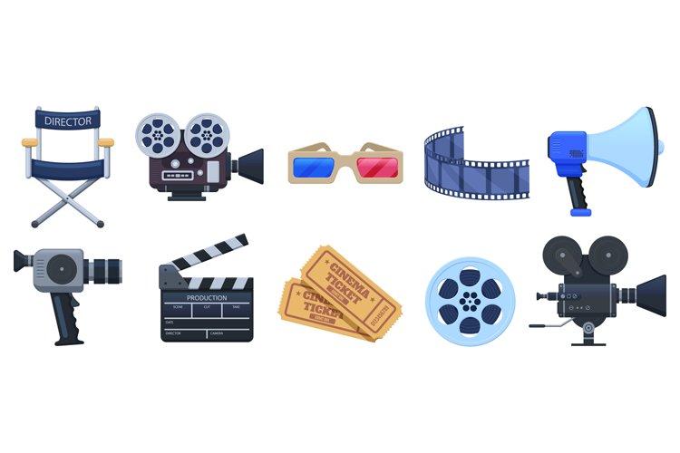 Cinema symbols. Movie theatre or cinematography clapperboard example image 1