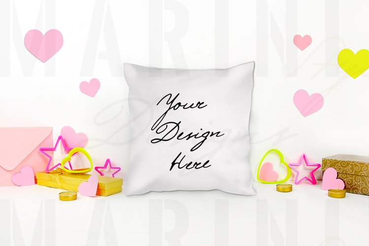 Valentines day pillow mockup, White pillow PSD mockup 1164