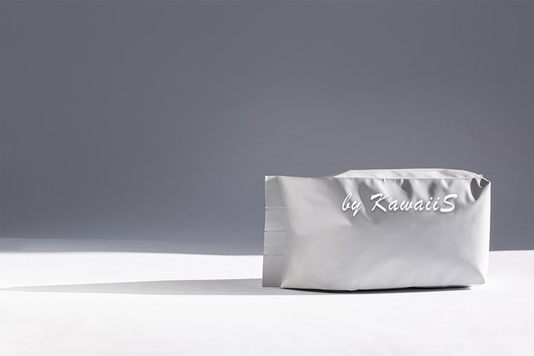 White matte foil pouch stand up bag front view with shadow example image 1