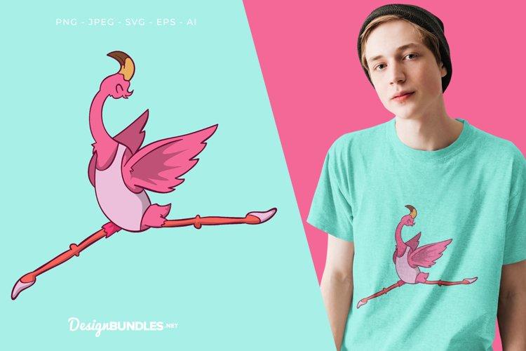 Ballet Dancer Flamingo Vector Illustration For T-Shirt