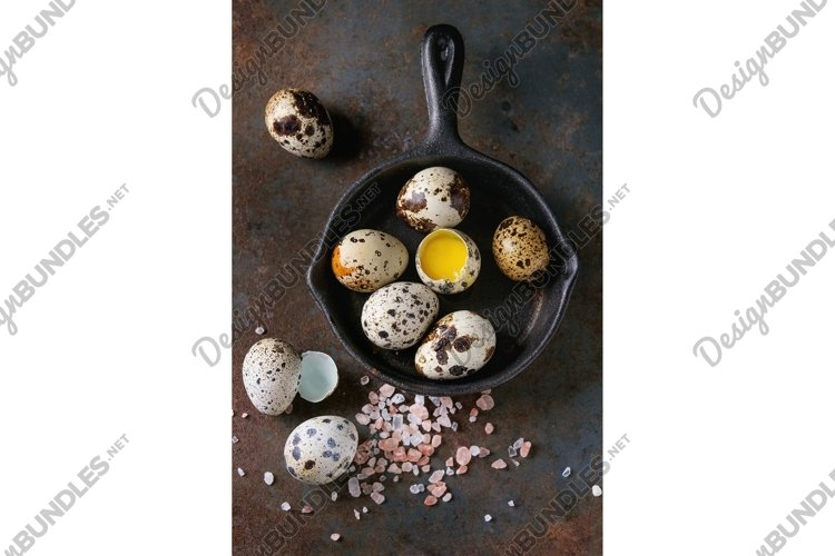 Whole and broken quail eggs example image 1
