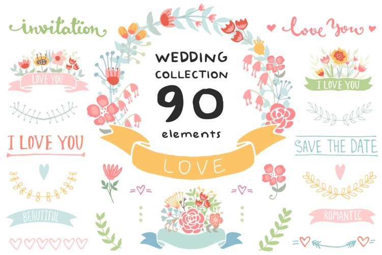 Wedding Floral elements Romantic set example image 1