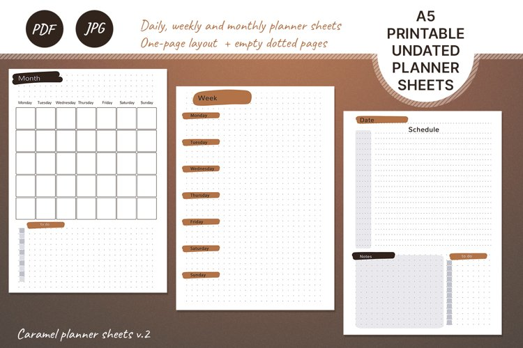Undated monthly weekly daily planner sheets. Printable A5 example image 1