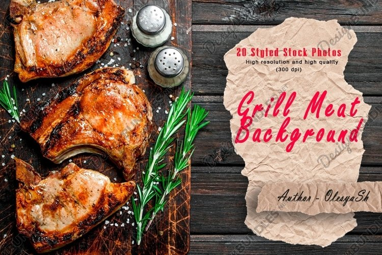 20 Photos Grilled beef and pork steaks background. example image 1