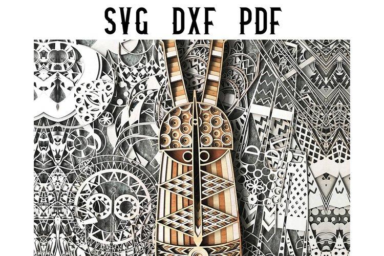 Peekaboo African Mask Multilayer Mandala Cut File - SVG DXF