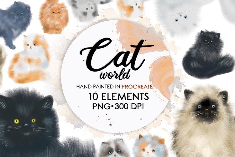 Sublimation Bundle, Watercolor Cat, Cat Clipart, Cat Png example image 1