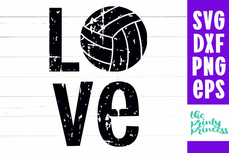 LOVE Volleyball svg, Volleyball svg, Distressed Volleyball example image 1