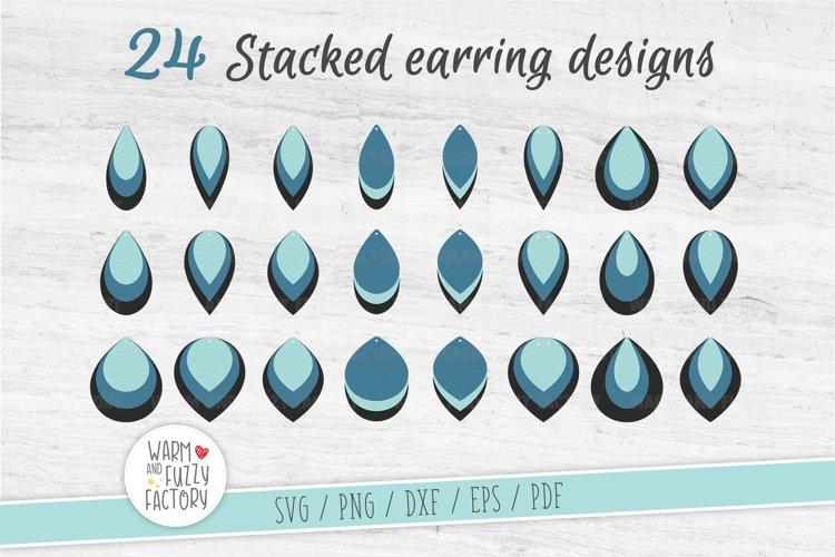 Stacked earring svg, Teardrop Earring Templates | Cut File