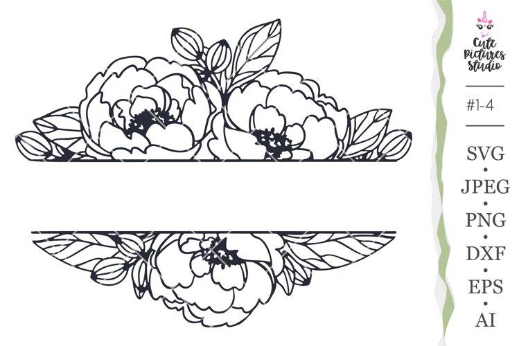 wedding monogram frame with peony flower Cricut SVG cut file