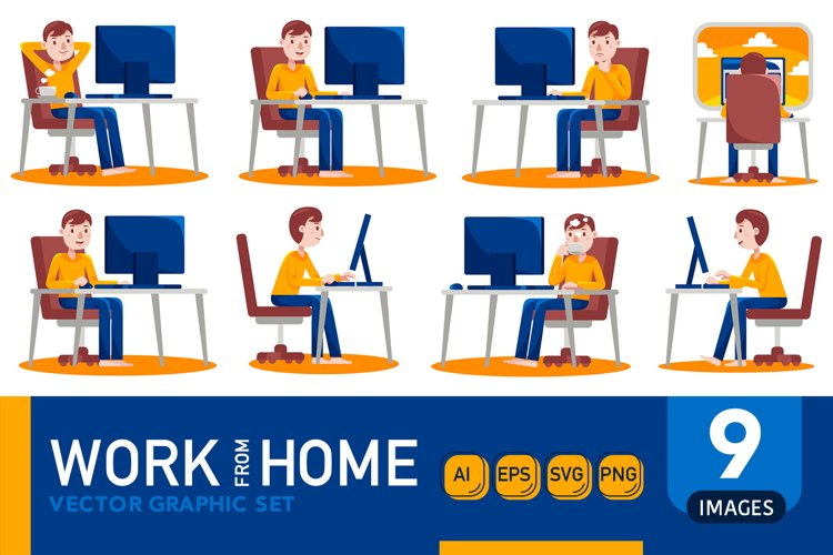 Work From Home Vector Graphic Set 05 example image 1