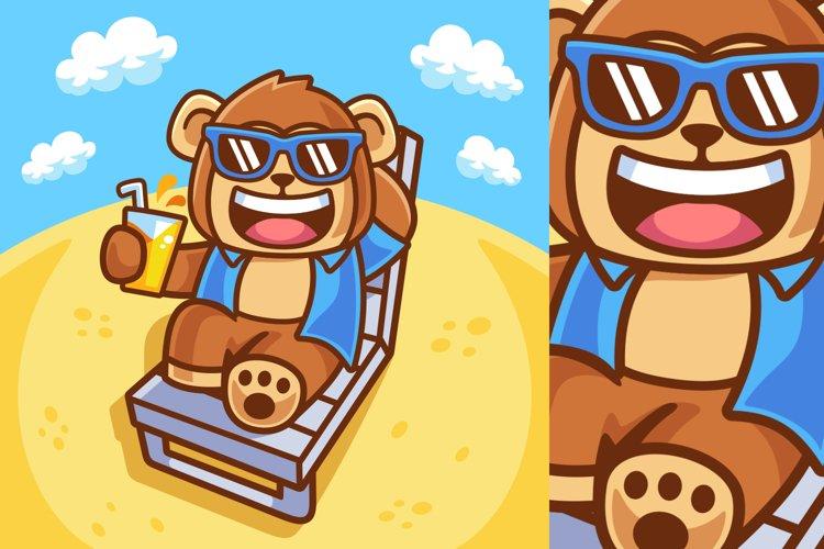 Illustration of Monkey Sunbathe in Summer Season