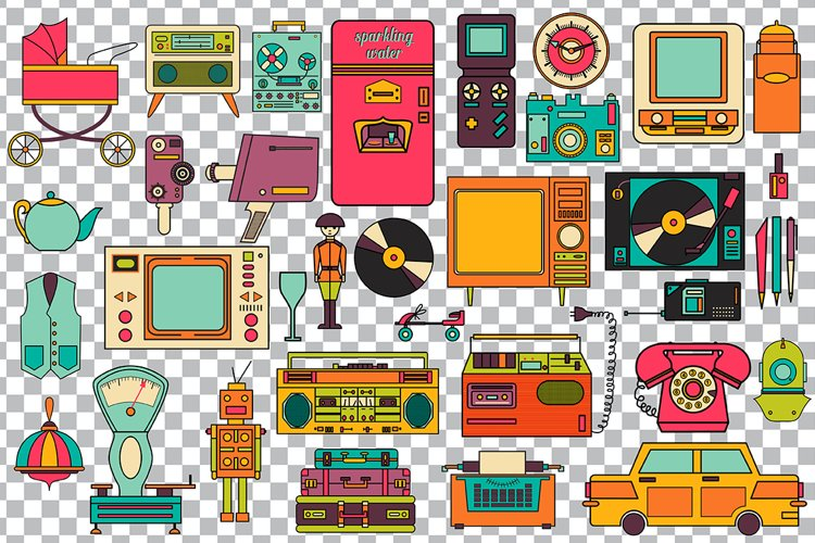 32 retro icons 80-90s collection. - Free Design of The Week Design4