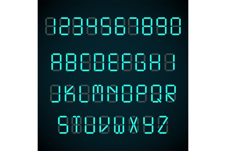 Digital font, alarm clock letters and numbers vector alphabe example image 1