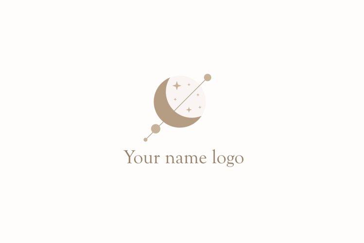 mystical design-geometric Logo-Moon planet vector logo example image 1