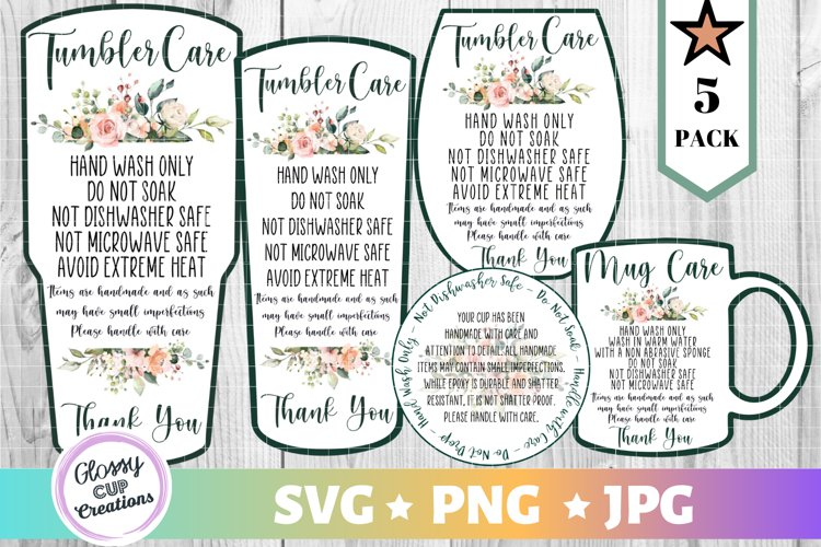 Tumbler Care Card Pack, PNG, Print and Cut, Flowers