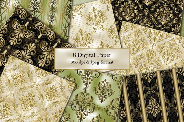 Seamless Damask Digital Papers. Collection of papers